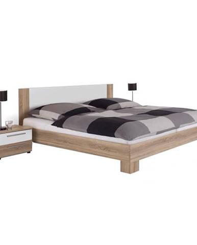 Manželská posteľ s 2 nočnými stolíkmi dub sonoma/biela 180x200 MARTINA