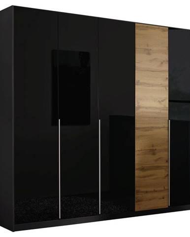 Stylife SKRIŇA S OTOČNÝMI DVERAMI, farby dubu, tmavosivá, 226/210/54 cm - farby dubu, tmavosivá