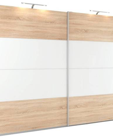 Xora SKRIŇA S POS. DVER. – HOR.VED., biela, dub sonoma, 226/210/62 cm - biela, dub sonoma