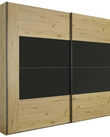 Xora SKRIŇA S POS. DVER. – HOR.VED., farby dubu, tmavosivá, 271/223/69 cm - farby dubu, tmavosivá