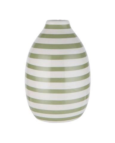 CARO Váza prúžkovaná 9 cm - biela/šalviová