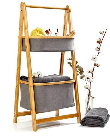 Blumfeldt Kúpeľňový regál, 2 koše, 2 úrovne, bambus, sklápací