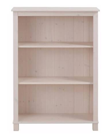 Nízka biela knižnica z masívneho borovicového dreva Støraa Pinto