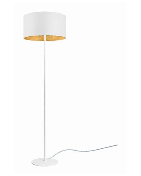 Sotto Luce Biela stojacia lampa s detailom v zlatej farbe Sotto Luce Mika, ⌀ 40 cm