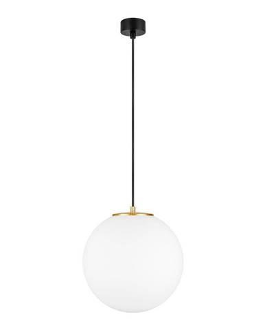 Biele závesné svietidlo s objímkou v zlatej farbe Sotto Luce TSUKI L