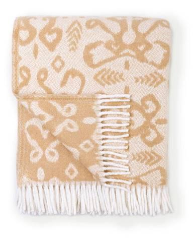 Béžový pléd s podielom bavlny Euromant Summer Mykonos, 140 x 180 cm