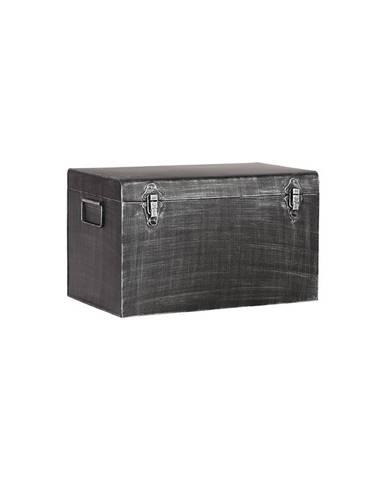 Čierny kovový úložný box LABEL51, dĺžka 30 cm