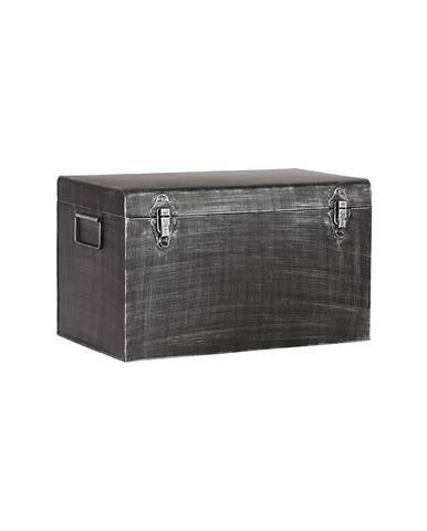 Čierny kovový úložný box LABEL51, dĺžka50cm