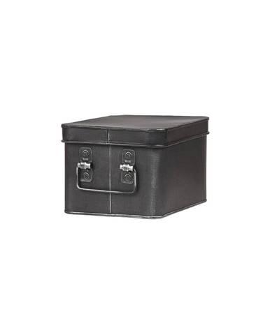 Čierny kovový úložný box LABEL51 Media, šírka 22 cm