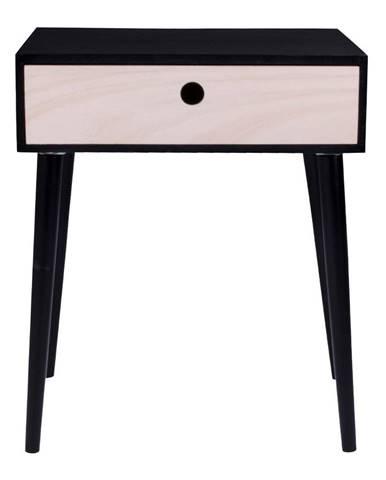 Čierny drevený odkladací stolík s čiernym rámom HoNordic Parma