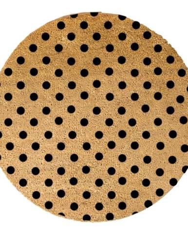 Čierna okrúhla rohožka z prírodného kokosového vlákna Artsy Doormats Dots, ⌀ 70 cm