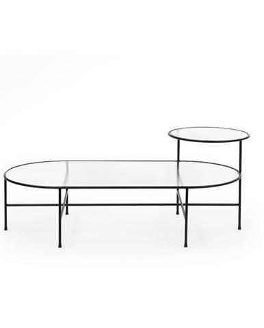 Čierny konferenčný stolík so sklenenou doskou Teulat Nix