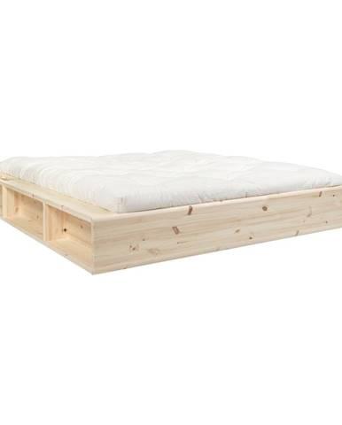 Dvojlôžková posteľ z masívneho dreva s úložným priestorom a futonom Comfort Mat Karup Design, 180 x 200 cm
