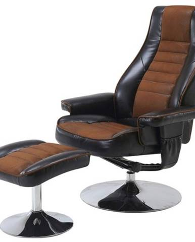 Relaxačné kreslo s taburetom HILDERS hnedá/čierna