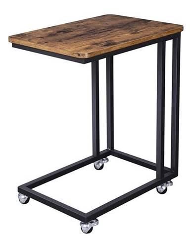 Prístavný stolík EVORA matná čierna, rustikálna hnedá