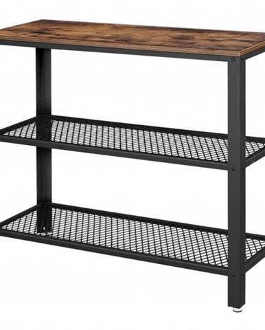 Prístavný stolík LEIRA čierna/hnedá