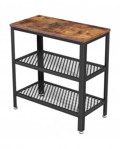 Prístavný stolík MIKKE I čierna/hnedá