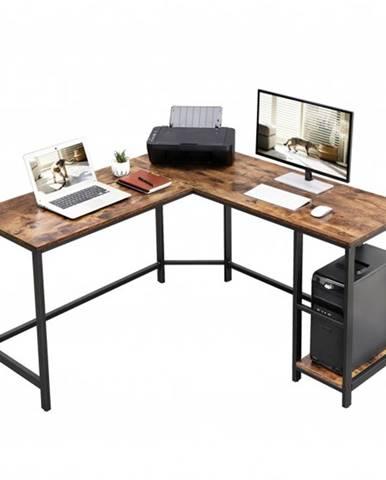Rohový písací stôl MONA čierna/hnedá