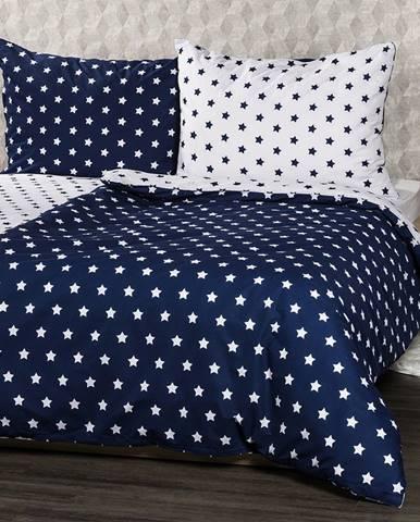 4Home bavlnené obliečky Stars Navy blue, 140 x 220 cm, 70 x 90 cm