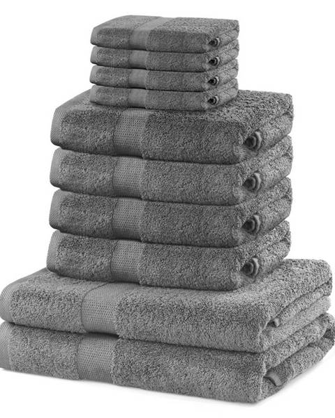 DecoKing DecoKing Sada uterákov a osušiek Marina strieborná, 4 ks 30 x 50 cm, 4 ks 50 x 100 cm