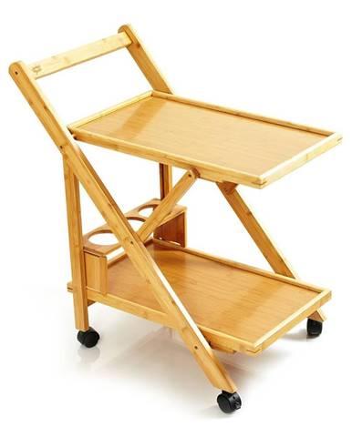 Blumfeldt Servírovací vozík, 2 police, 4 kolieska, 66x70x40,5 cm (ŠxVxH), bambus