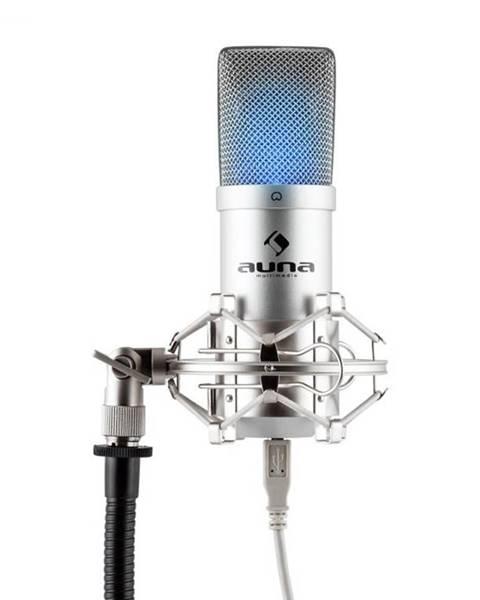 Auna Auna Pro MIC-900S-LED, strieborný, štúdiový USB kondenzátorový mikrofón, obličková ch., LED