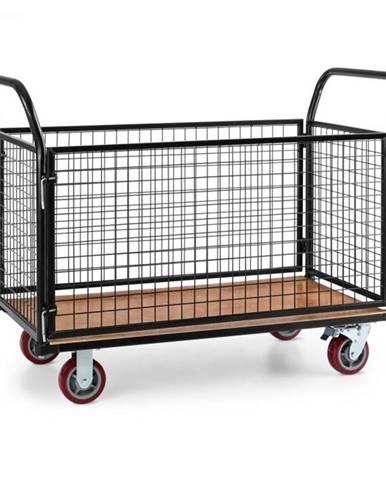 Waldbeck Loadster, mriežkový vozík, pojazdný, skladový vozík, max. 500 kg, drevený spodok, čierny