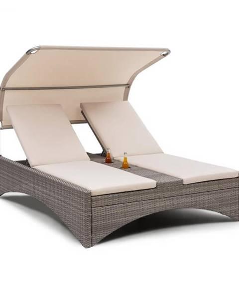 Blumfeldt Blumfeldt Eremitage Double Lounger, plážové ležadlo pre 2 osoby, hliník/ratan, tmavošedé
