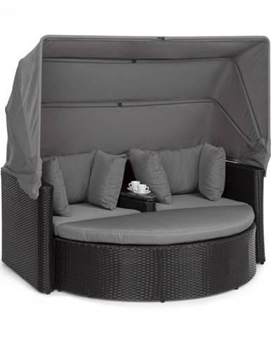 Blumfeldt Heartland, dvojmiestna pohovka so stolíkom, stolček, strieška proti slnku, sivá
