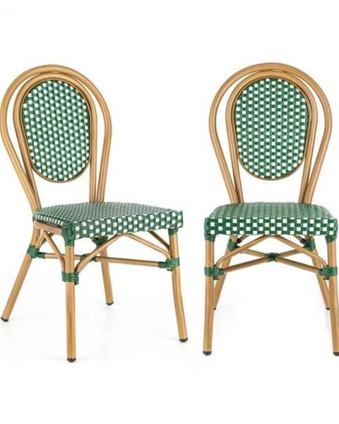 Blumfeldt Blumfeldt Montpellier GR, bistro stolička, možnosť ukladať stoličky na seba, hliníkový rám, polyratan, zelená