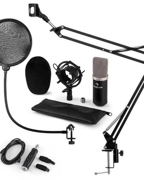 Auna Auna CM003 mikrofónová sada V4, kondenzátorový mikrofón, USB-konvertor, mikrofónové rameno, čierna farba