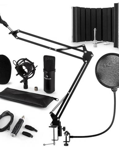 Auna CM001B mikrofónová sada V5, kondenzátorový mikrofón, USB-adaptér, mikrofónové rameno,pop filter, panel