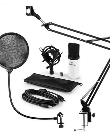 Auna MIC-900WH, USB mikrofónová sada V4, biela, kondenzátorový mikrofón, pop filter, mikrofónové rameno