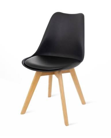 Súprava 2 čiernych stoličiek s bukovými nohami loomi.design Retro