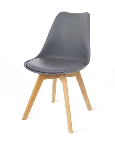 Súprava 2 sivých stoličiek s bukovými nohami loomi.design Retro