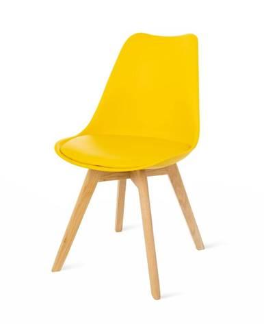 Súprava 2 žltých stoličiek s bukovými nohami loomi.design Retro