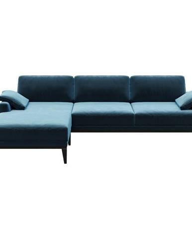 Modrá zamatová rohová pohovka MESONICA Musso, ľavý roh
