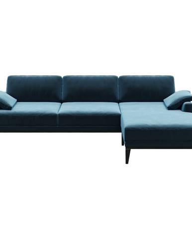 Modrá zamatová rohová pohovka MESONICA Musso, pravý roh