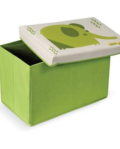 Zelená podnožka s úložným priestorom Domopak Elephant