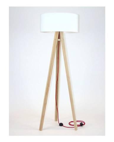 Stojacia lampa s bielym tienidloma červeným káblom Ragaba Wanda