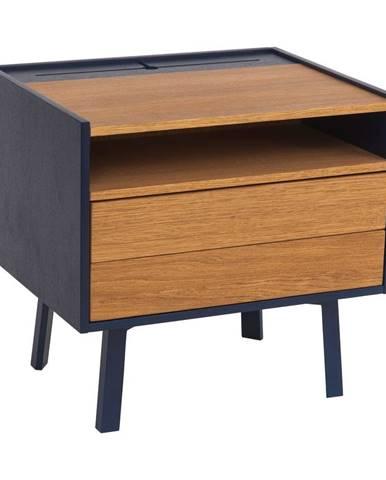 Nočný stolík s detailmi v tmavomodrej farbe Ragaba Diamond