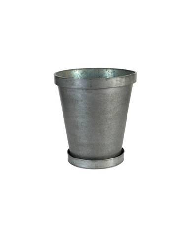 Kovový kvetináč s miskou Antic Line Round