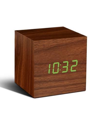 Tmavohnedý budík so zeleným LED displejom Gingko Cube Click Clock