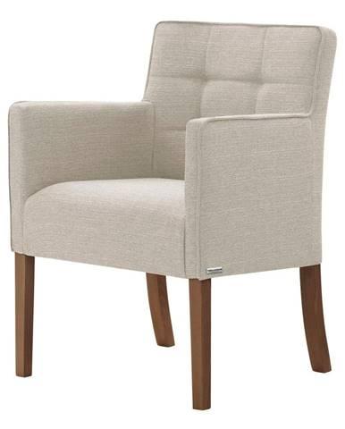 Krémovo-biela stolička s tmavohnedými nohami Ted Lapidus Maison Freesia