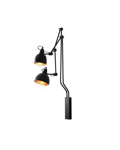 Čierna nástenná lampa na 2 žiarovky Custom Form Coben