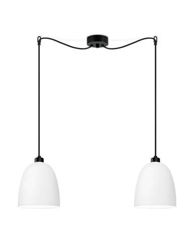 Biele dvojramenné závesné svietidlo s čiernym káblom Sotto Luce Awa Matte
