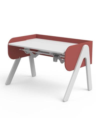 Červeno-biely písací stôl z borovicového dreva s nastaviteľnou výškou Flexa Woody