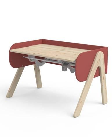 Červeno-hnedý písací stôl z borovicového dreva s nastaviteľnou výškou Flexa Woody