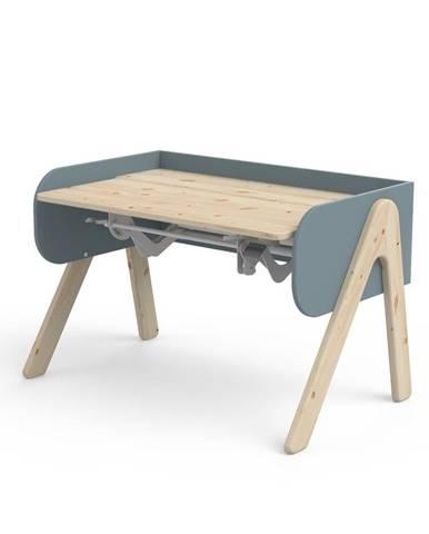 Modro-hnedý písací stôl z borovicového dreva s nastaviteľnou výškou Flexa Woody