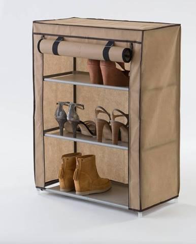 Béžová textilná trojposchodová skrinka na topánky Compactor Shoes